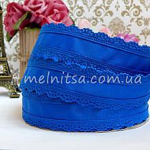 Лента репсовая с ажурным краем, 35 мм, синий