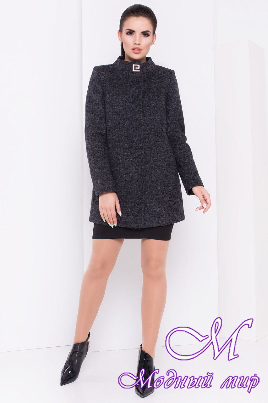 Женское темно-серое осеннее пальто (р. S, M, L) арт. Мирта шерсть №9 - 16667