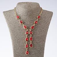 """Колье на цепочках """"Эйфория"""" с красными кристаллами каплями L-45-50см  цвет металла """"золото"""""""