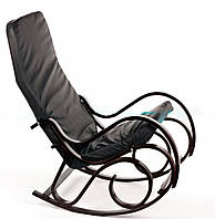 Кресло-качалка CALVIANO черное кожаное