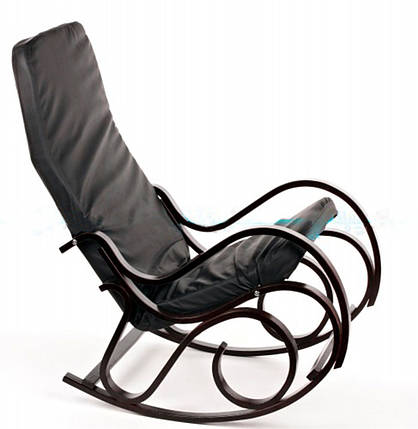 Кресло-качалка CALVIANO черное кожаное, фото 2