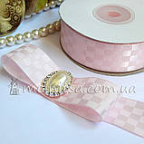 Лента атласная шахматка, 2,5 см, св.розовый, фото 2