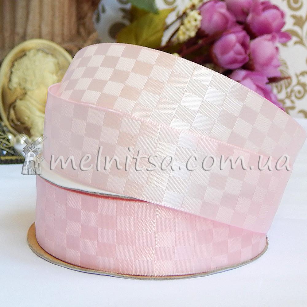 Лента атласная шахматка, 2,5 см, св.розовый