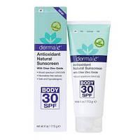 Антиоксидантный натуральный лосьон для тела с солнцезащитным фактором SPF30 Derma E