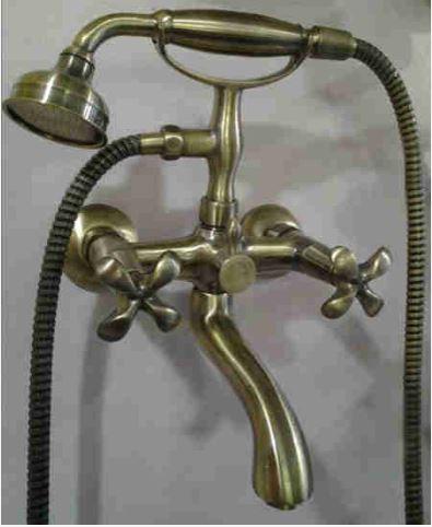 Смеситель кран в ванную двухвентильный бронза Италия 0176