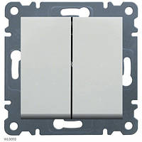 Выключатель 2-клавишный Lumina-2, белый, 10АХ/230В Hager WL0040