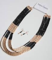 :Бижутерия:Модный комплект украшений: колье+серьги, арт. 6201_черн