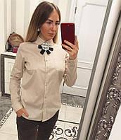 Женская хлопковая блуза/рубашка с брошью (5 цветов)