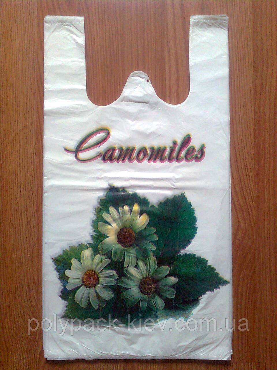 """Білі пакети-майка """"Ромашки"""" 27*50 см/18 мкм, пакувальний білий поліетиленовий пакет майка біла з малюнком"""