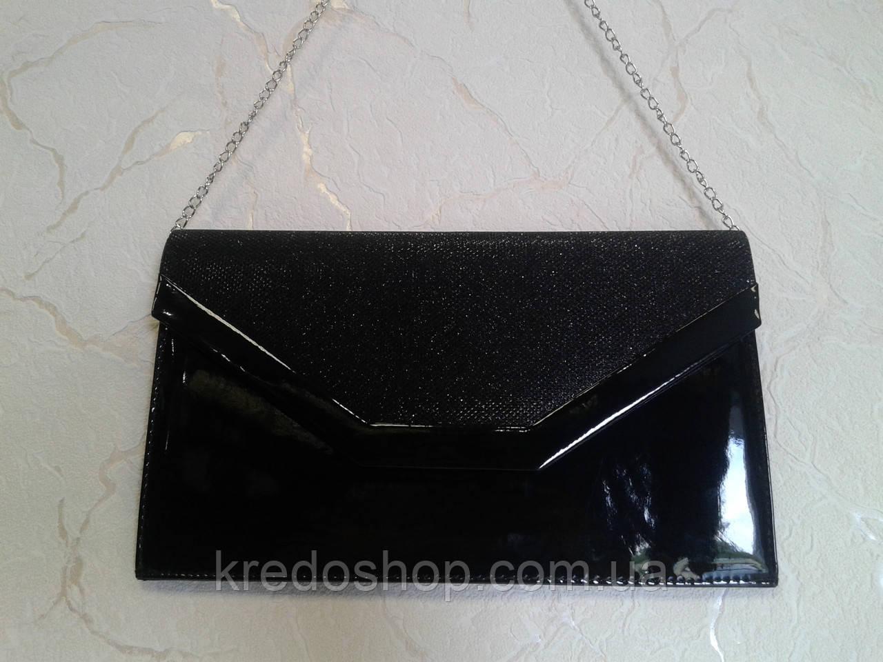 05c9a1d98bc9 Вечерний клатч черный лаковый с блестками красивый (Турция) -  Интернет-магазин сумок и