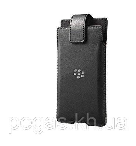Чехол BlackBerry Priv кожаный. С прищепкой. Кармашек кожаный черный