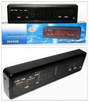 Часы сетевые lux 808-2, настольно-настенные, электронные, зелёная светодиодная подсветка цифр, с термометром, фото 1
