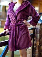 Махровый халат для женщин цвета марсала