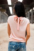 Персиковая кофта с бантом на спинке