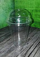 Стакан пластиковый ПЕТ 420 мл под купольную крышку с отверстием под соломку