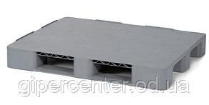 Универсальный сплошной пластиковый поддон на трех лыжах 1200х1000х150 мм (02.103F.91.С3.Q) серый