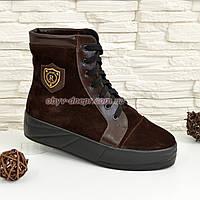 Ботинки женские зимние замшевые коричневые на утолщенной подошве. 37 размер