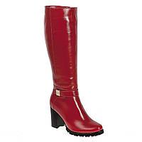 Сапоги женские Alamo (чорвоного цвета, кожаные, на каблуке, модные)