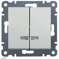 Выключатель с подсветкой 2-клавишный Lumina-2, белый, 10АХ/230В Hager WL0240
