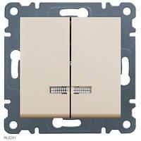 Выключатель с подсветкой 2-клавишный Lumina-2, крем, 10АХ/230В Hager WL0241
