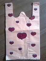 """Пакет  """"Сердечко"""" 27*47 см/18 мкм, упаковочные подарочные пакеты майка с печатью, с рисунком купить Киев"""
