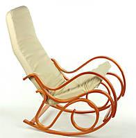 Кресло-качалка CALVIANO светлое кожаное