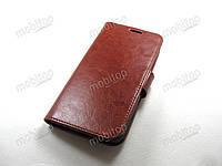 Кожаный чехол книжка Meizu M5c (коричневый)
