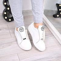 Слипоны кеды женские Philippe Plein белые 3570, кеды женские осенняя обувь