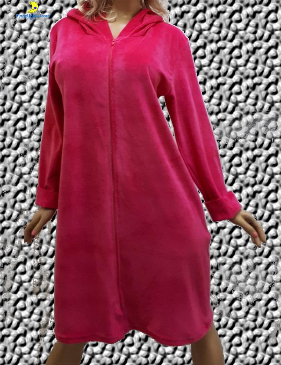 Велюровый женский халат большого размера от 52 до 58, Украина