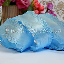 Лента атласная с ажурным краем, 3,5 см, голубой