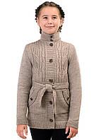 Кардиган вязаный шерстяной на пуговицах для девочки