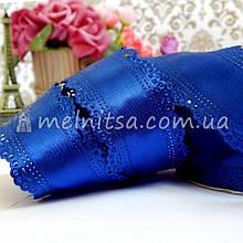 Лента атласная с ажурным краем, 3,5 см, синий