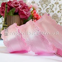 Лента атласная с ажурным краем, 3,5 см, розовый