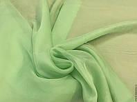 Тюль шифон однотонный постельно зеленый