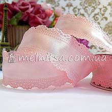 Лента атласная с ажурным краем, 3,5 см, св.розовый