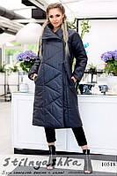 Теплое черное плащевое пальто оверсайз