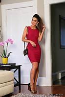 Платье мини бордовое трикотажное модель 2015