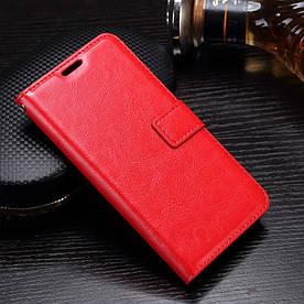 Чехол книжка для Motorola Moto G5 XT1676 боковой с отсеком для визиток, Гладкая кожа, красный