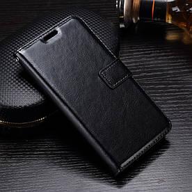 Чехол книжка для Motorola Moto G5 XT1676 боковой с отсеком для визиток, Гладкая кожа, черный