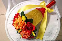 """Композиция букет цветы из конфет """"Колокольчик"""" цвет красный и оранжевый"""