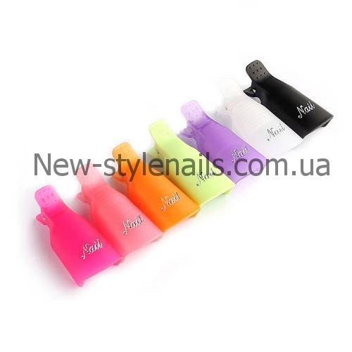 Набор пластиковых зажимов (клипсы) для снятия гель-лака, цветные 10 шт/уп..