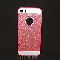 Розовый блестящий чехол на Iphone 5, 5s