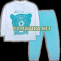 Детская весенняя осенняя пижама р 122-128 для мальчика демисезонная ткань ИНТЕРЛОК 100% хлопок 3771 Голубо 122
