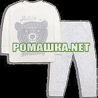 Детская весенняя осенняя пижама р. 80 для мальчика демисезонная ткань ИНТЕРЛОК 100% хлопок 3771 Бежевый 80