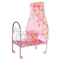 Кроватка детская для куклы железная качалка