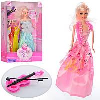 Кукла с нарядом, 3 платья, скрипка, микс видов, в кор-ке 268-H