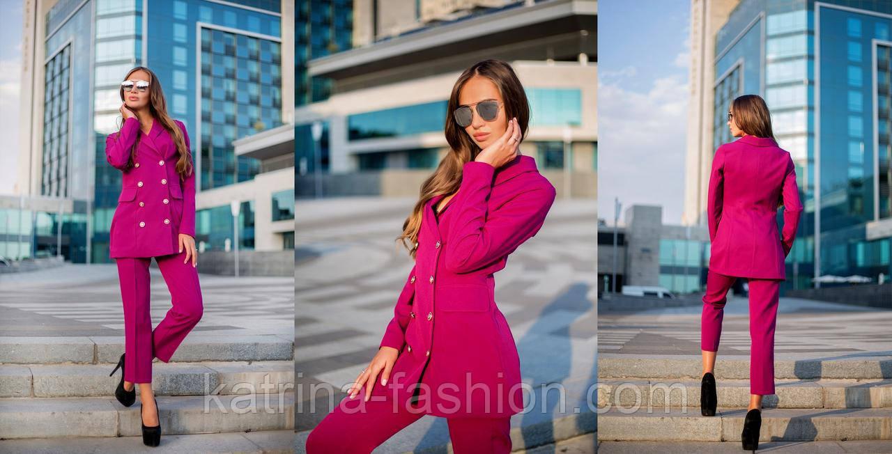 Жіночий розкішний брючний костюм з подовженим кардіганом і укороченими брюками (4 кольори)