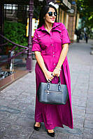 Платье женское большого размера, НА ПУГОВИЦАХ ОСНОВА КОСТЮМНАЯ ТКАНЬ  4 расцветки ,вмаг №311-18