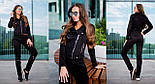 Женский красивый замшевый костюм: куртка-косуха и брюки с молниями (6 цветов), фото 5