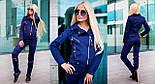 Женский красивый замшевый костюм: куртка-косуха и брюки с молниями (6 цветов), фото 7
